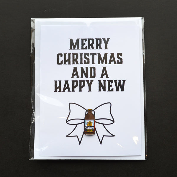 Merry Christmas And A Happy New Beer Pin Card