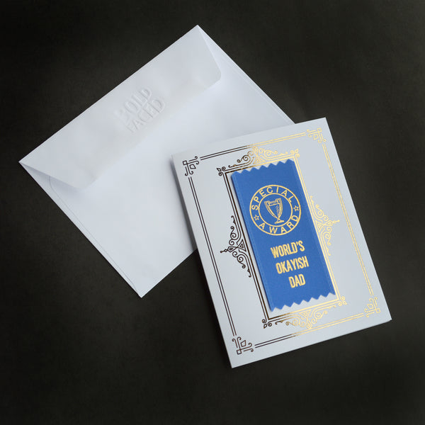 World's Okayish Dad Ribbon Card