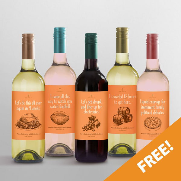 FREE! American Thanksgiving Wine Labels - Set of 5