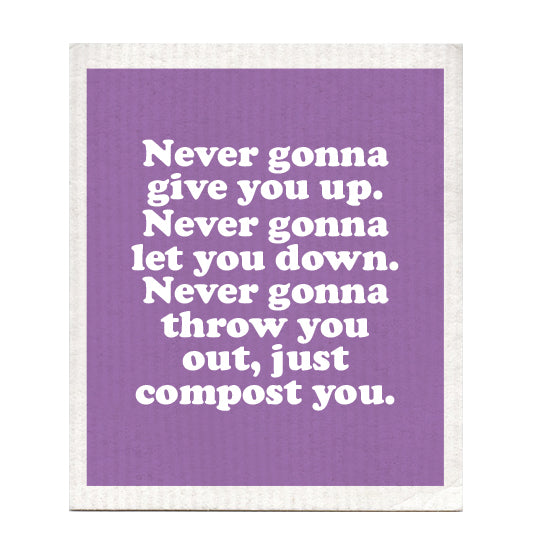 Never Gonna Give You Up Swedish Dishcloth