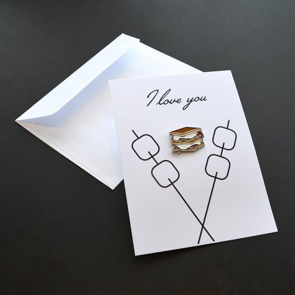 I Love You S'more Pin Card