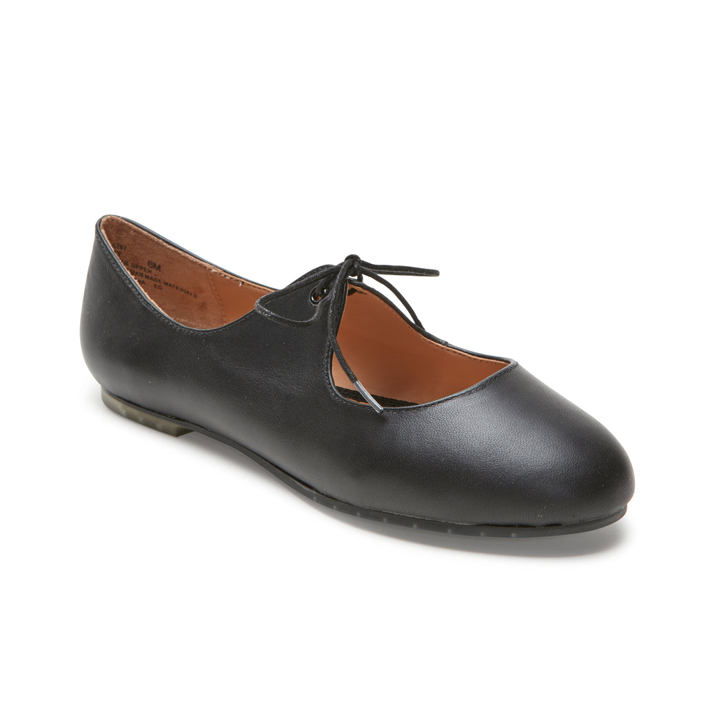 Cacey Black Leather -  FLAT - ...me Too