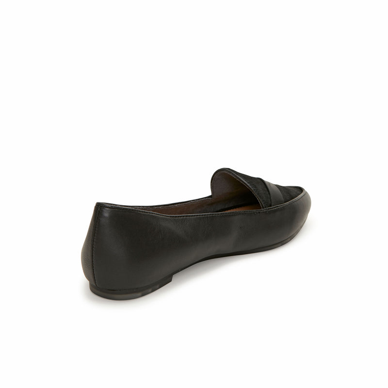 Addie Black Leather with Black Haircalf -  Loafer - ...me Too