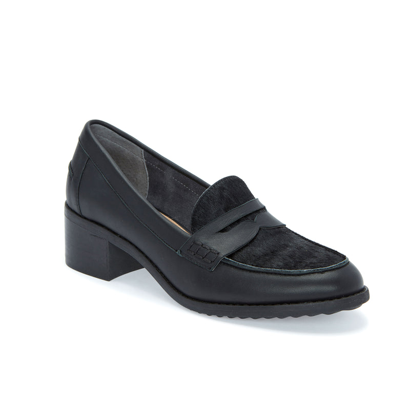 Darra Black Leather with Black Haircalf -  Loafer - me too