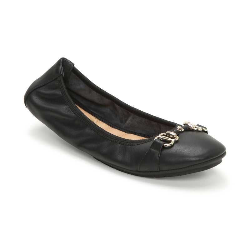 Olympia Black Leather w/ Silver Chain -  Ballet Flats - me too