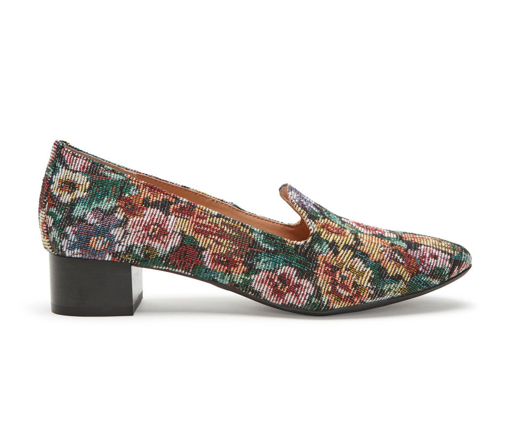 Gwen Wine Floral Fabric -  Loafer - me too