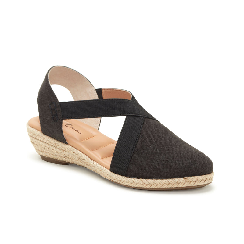Nissa Black Canvas -  SANDAL - me too