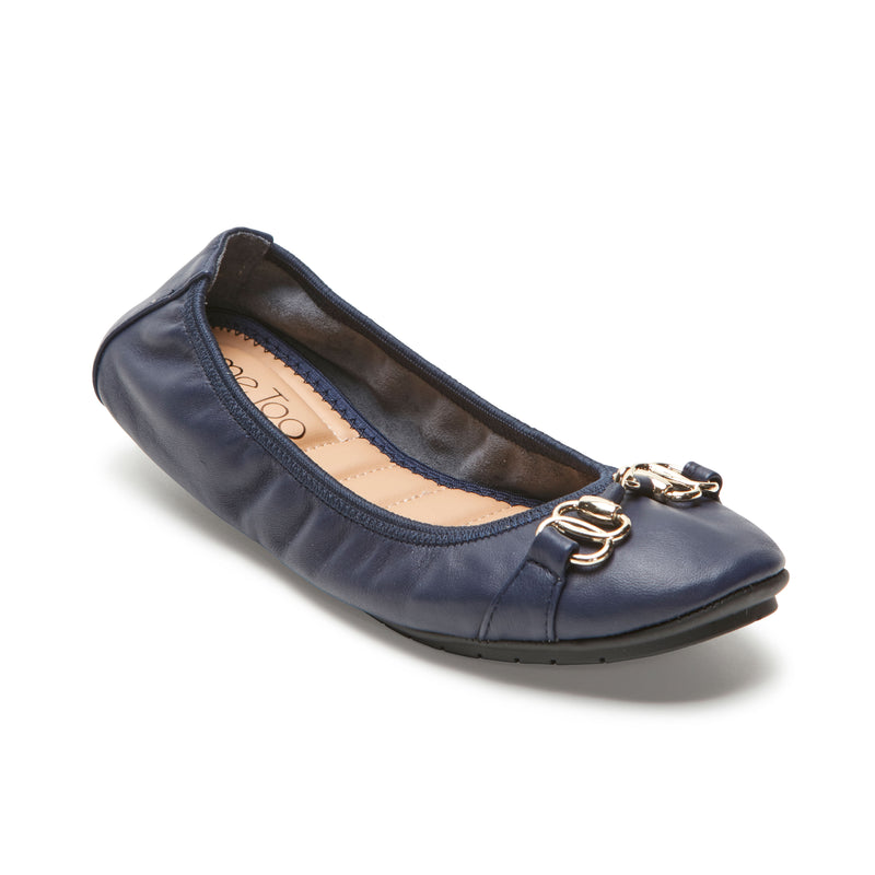 Olympia Navy Leather w/ Gold Chain -  Ballet Flats - me too