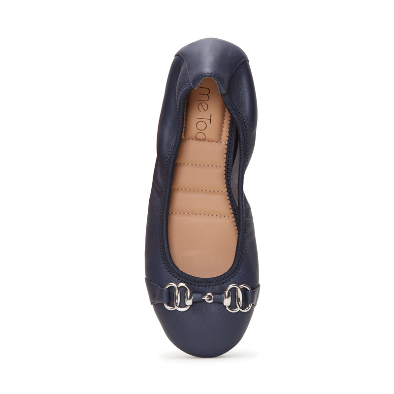 Olympia Navy Leather w/ Silver Chain -  Ballet Flats - me too
