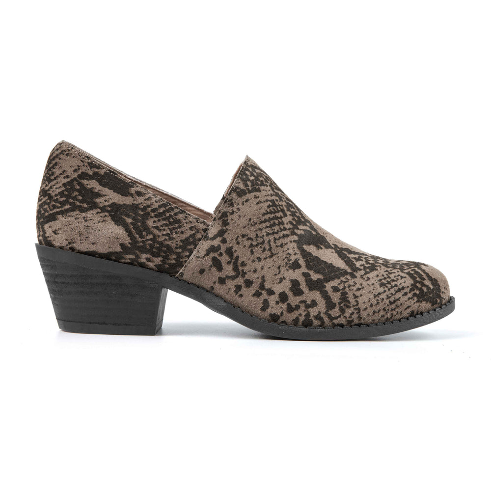 Taupe Grey Snake Suede