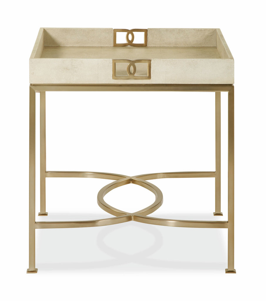 Salon Side Table with Metal Base