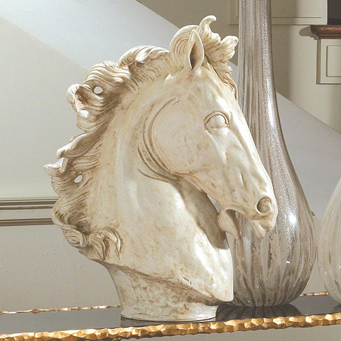 Large Horse Head Scuplture Marble Finish