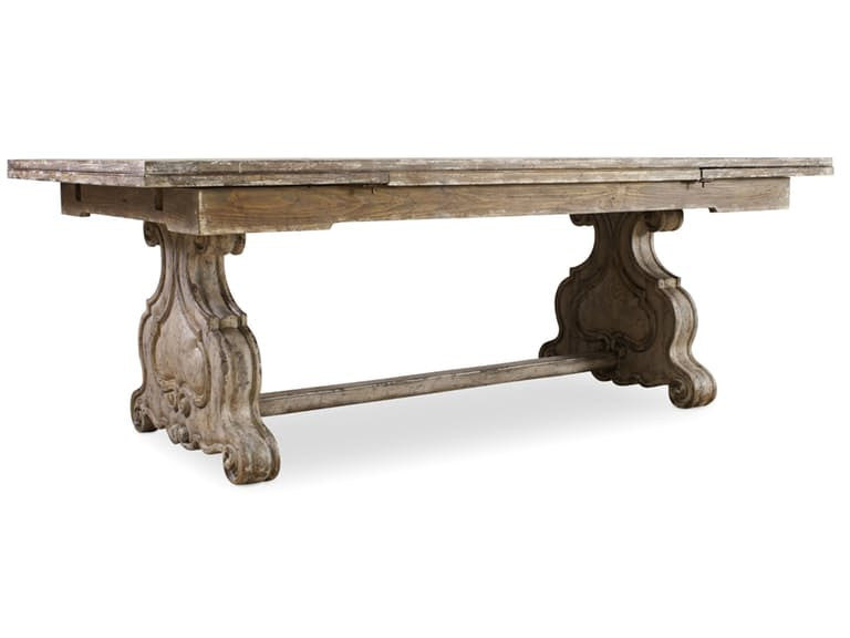"Chatelet Refectory Rectangle Trestle Dining Table with Two 22"" Leaves"