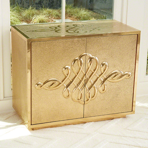 Scroll 2 Door Cabinet-Brass