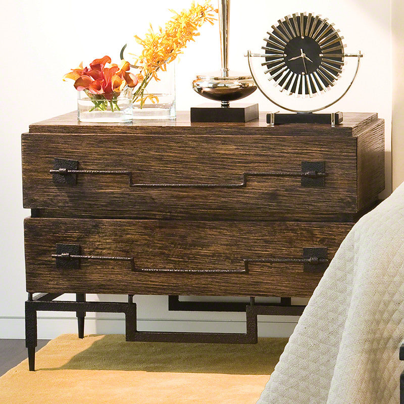2 Drawer Wide Chest- Dark Brushed Mango