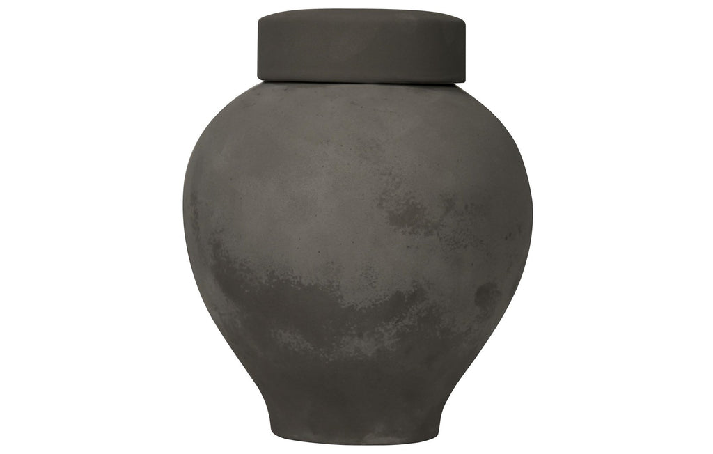 120 Ceramic Vase w/Lid, Beton Finish