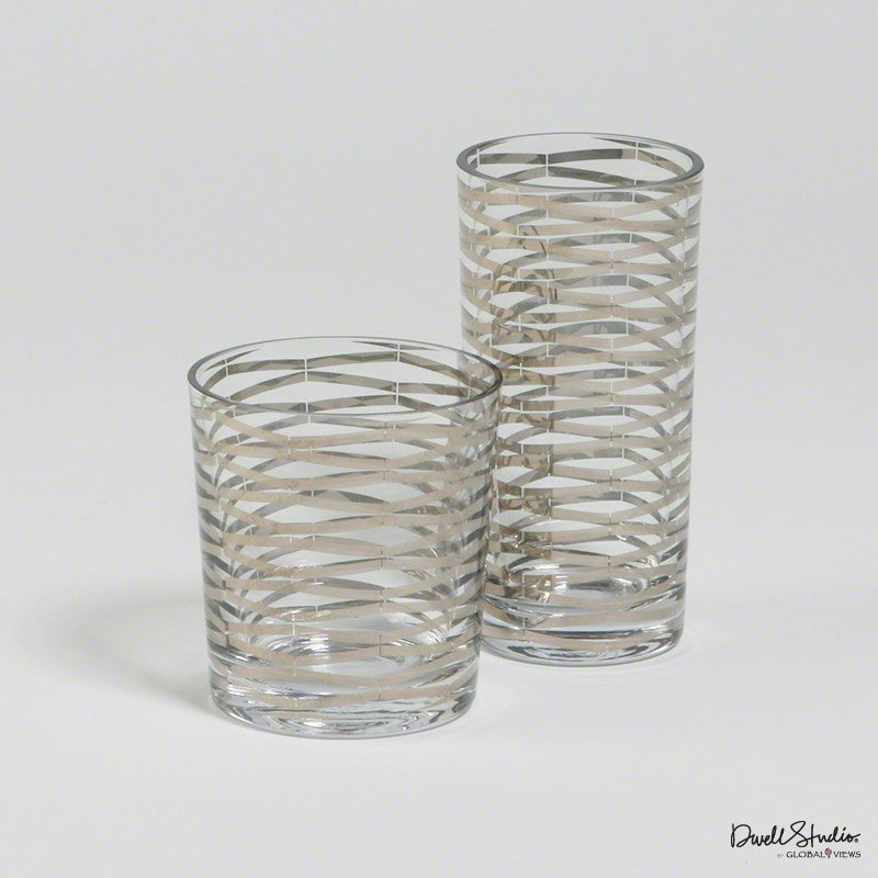 Silver Ribbons Drinking Glass Tall