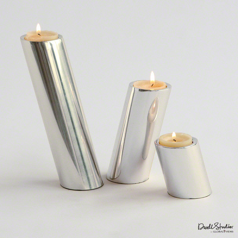Set Of 3 Slanted Candleholders Nickel