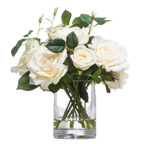Roses in Sm. Cylinder Waterlike White