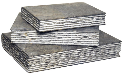 Set of 3 Stone Books, Black Marble