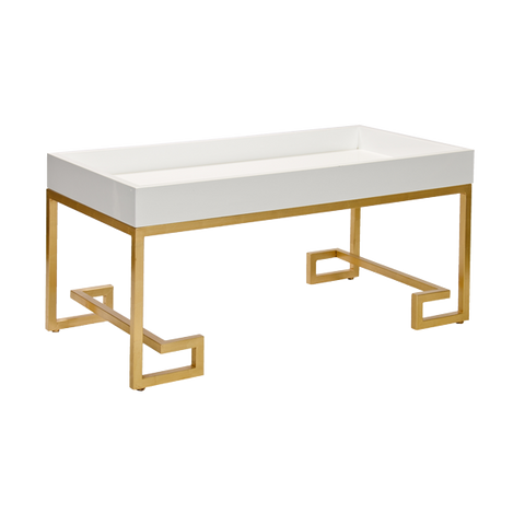 Conrad White and Gold Coffee Table