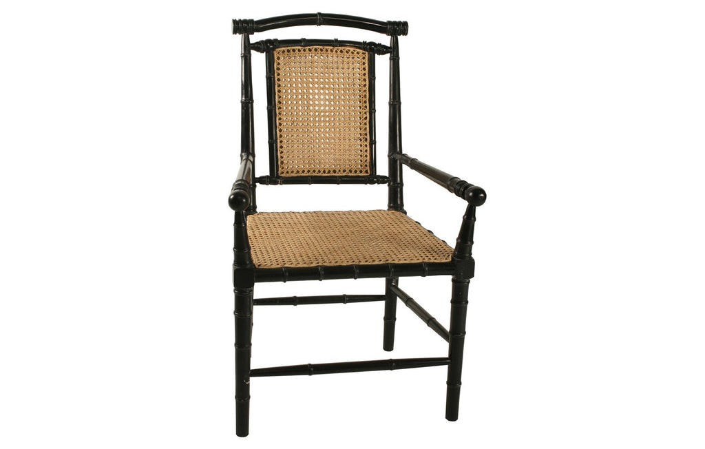 Colonial Bamboo Arm Chair w/ Caning, Hand Rubbed Black