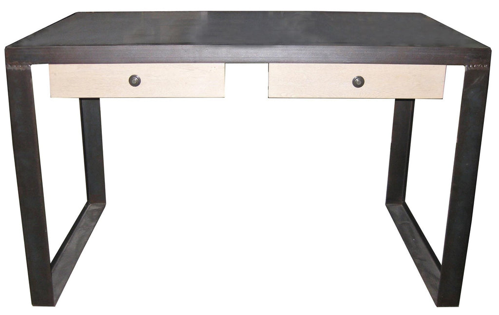 2 Drawer Desk w/ Stone Top, Metal