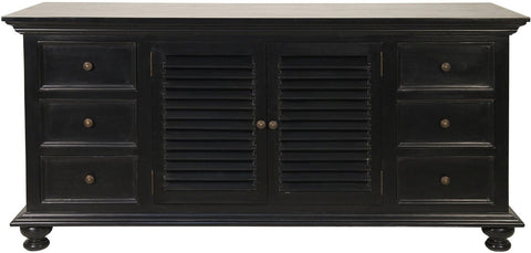 Shutter Flat Screen TV Console, Hand Rubbed Black