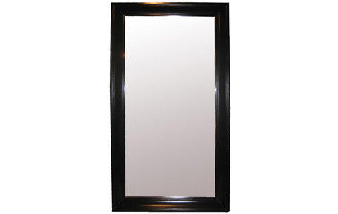 Large Colonial Floor Mirror, Black