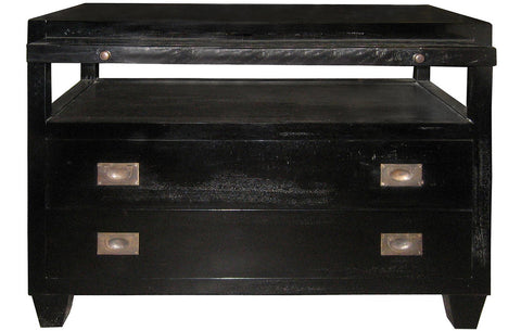 2 Drawer Side Table w/ Sliding Tray, Hand Rubbed Black