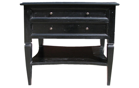 Oxford 2 Drawer Side Table, Hand Rubbed Black