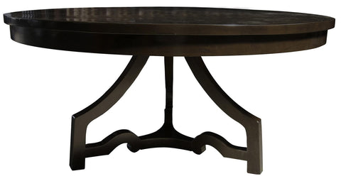 3 Leg Round Dining Table, Distressed Brown