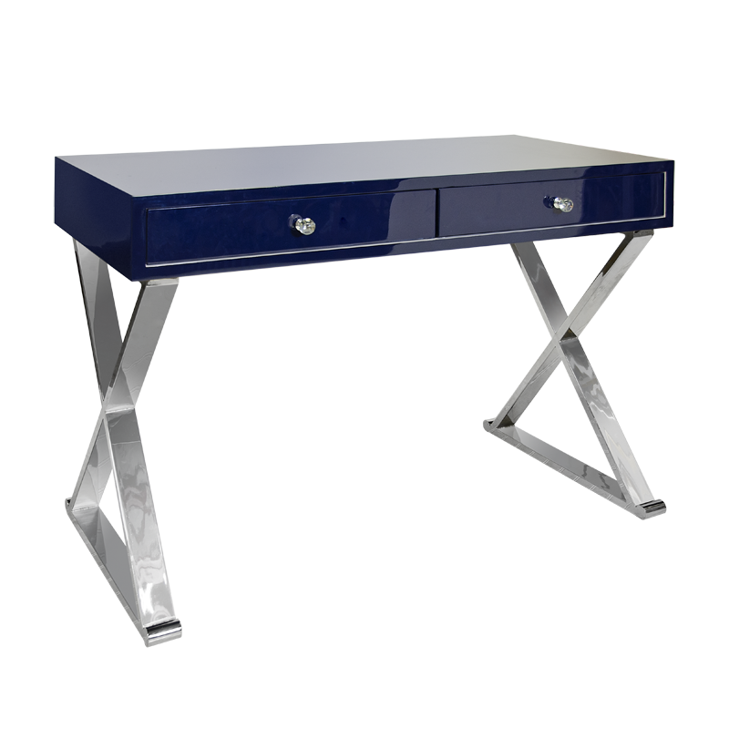 Jared Navy with Silver Desk