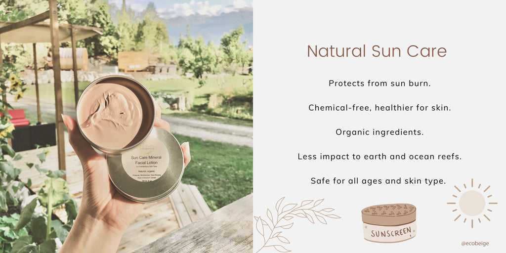 Sun Care Mineral Facial Lotion from A Healthy Beginning. Natural Sun Care, Protects from sun burn.  Chemical-free, healthier for skin.   Organic ingredients.  Less impact to earth and ocean reefs.  Safe for all ages and skin type.