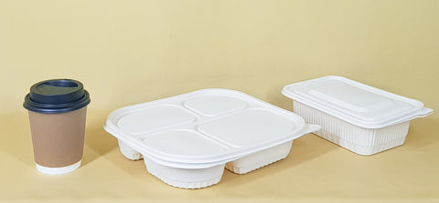 Plastic takeout containers and cups that can be recycled and repurposed.