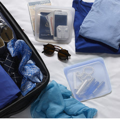 Blue sandwich stasher food grade reusable silicone bag used as travel organizer