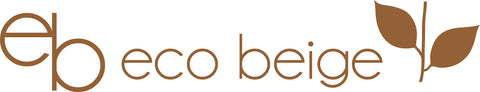 Eco Beige illustration logo horizontal design with sprouting brown leaf on the right.