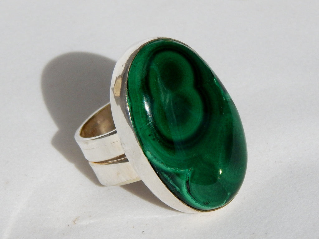 Sterling silver ring set with malachite, 1.25 inches long, size 5.5.