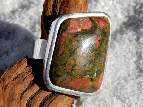Sterling silver ring set with unakite from Africa, 1.25 inches total length, size 8.5.