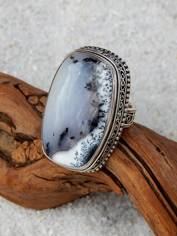 Sterling silver ring set with dendrite opal, size 5.5, 1.5 inches long.
