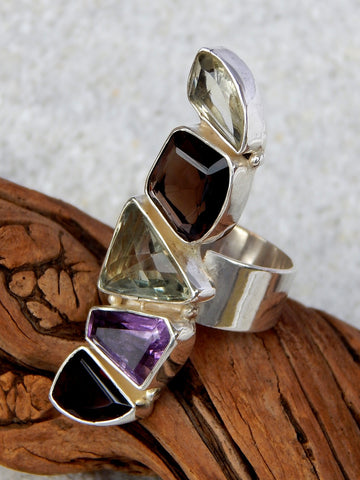 Sterling silver ring set with green amethyst, citrine, garnet, amethyst and topaz, size 9, 1.5 inches long.