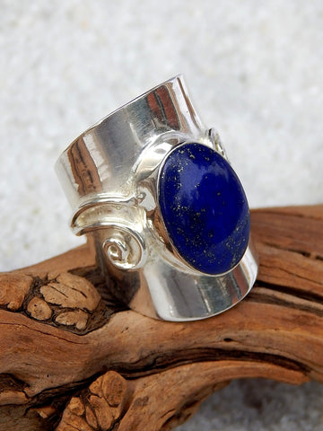 Sterling silver ring set with lapis lazuli, size 8.75, 1.25 inches long.