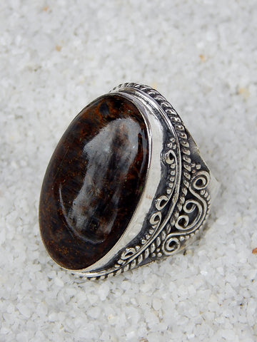 Sterling silver ring set with pietersite, size 6.5, 1 inch long.