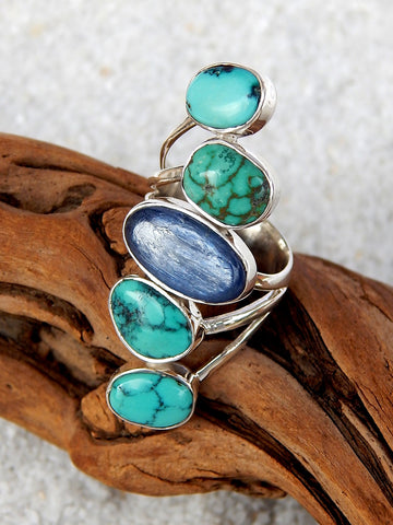 Sterling silver ring set with turquoise and labradorite, size 5.75, 1.5 inches long.