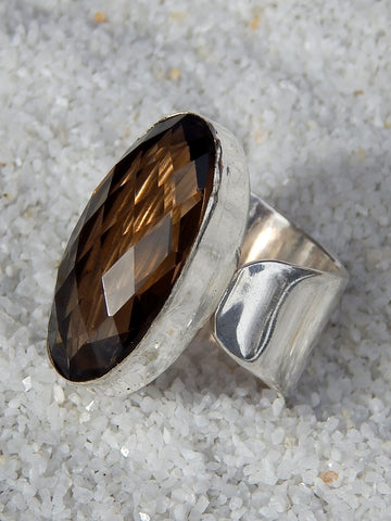 Sterling silver ring set with smoky topaz, size 5.75, 1 inches long.