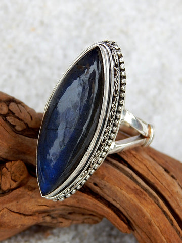 Sterling silver ring set with labradorite, size 8.5, 1.25 inches long.