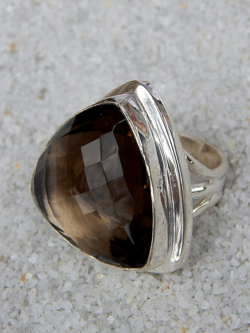 Sterling silver ring set with smoky topaz, size 7.25, 1.25 inches long.