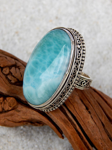Sterling silver ring set with larimar, size 5.75, 1.25 inches long.