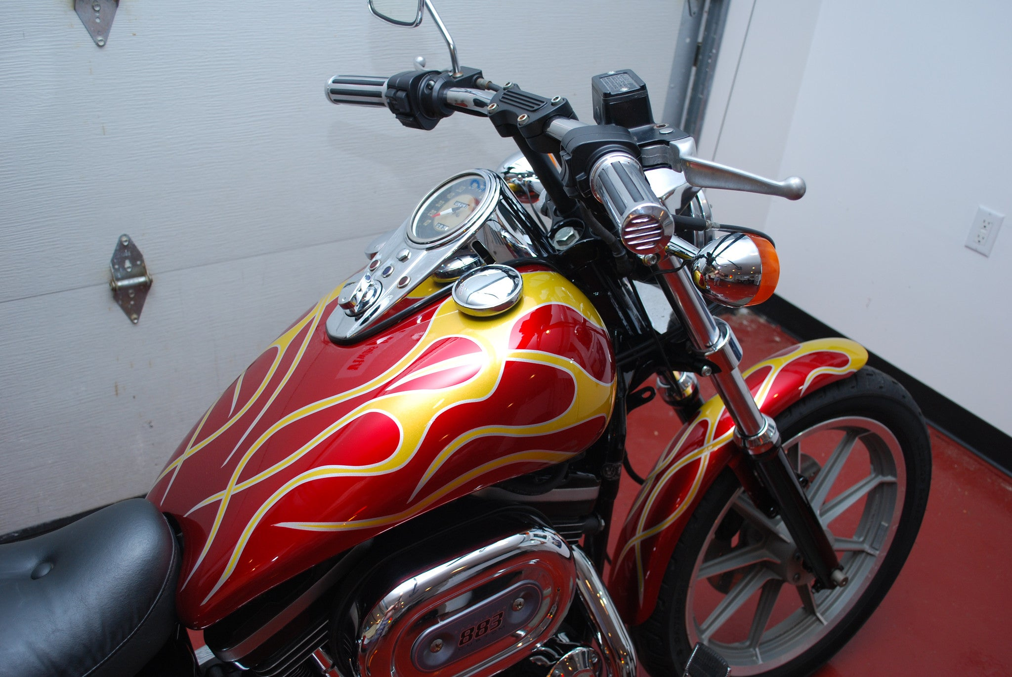 Harley Davidson Sportster 883 with 9K Miles Custom Flame Paint
