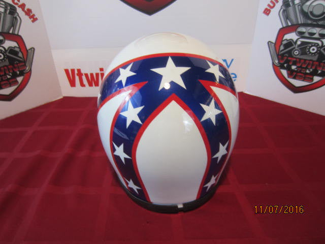 Evel Knievel Vintage Motorcycle Helmet Hand Painted Hand Striped